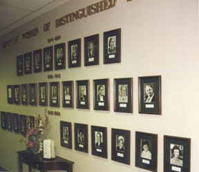 A view of the Adventist Women of Distinguished Service wall in the Women's Ministries Department at the General Conference World Headquarters.